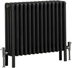 Bristan Heating Nero 4 Column Bathroom Radiator (Gun Metal). 670x600mm.
