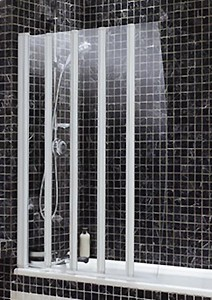 White Frameless Folding Bath Screen With 5 Panels Coram Screens C 07sfd5cwc Truerooms Com