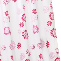 Croydex Textile Shower Curtain & Rings (Pop Flowers Pink, 1800mm).
