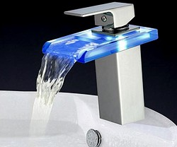 Hydra LED Rectangular Glass Waterfall Basin Tap With LED lights (Chrome).