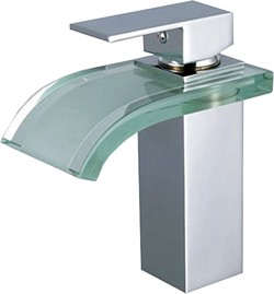 Hydra Glass Waterfall Basin Tap With Curved Spout (Chrome).