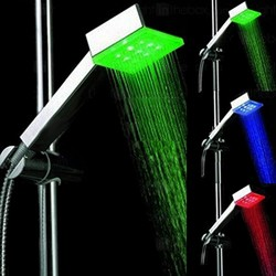 Hydra LED Square Shower Handset With LED lights (Chrome).