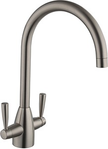 Hydra Mia Kitchen Tap With Twin Lever Controls (Brushed Steel).