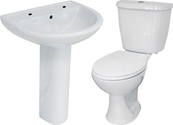 Hydra 4 Piece Bathroom Suite With Toilet & Basin (2 Tap Hole).