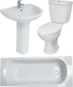 Hydra Bathroom Suite With Toilet, Basin, Pedestal & Bath (2 Tap Hole Bath).