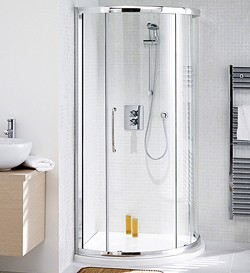Lakes Classic 910mm Corner Shower Enclosure, Slider Door & Tray (Silver).
