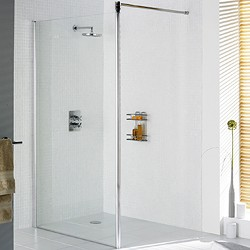 Lakes Classic 1000x1900 Glass Shower Screen (Silver, 8mm Glass).