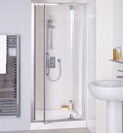 Lakes Classic 750mm Semi-Frameless Pivot Shower Door (Silver).