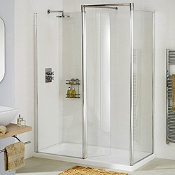 Lakes Classic Right Hand 1200x700 Walk In Shower Enclosure & Tray (Silver).