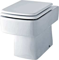 Crown Ceramics Bliss Square Back To Wall Toilet Pan With Seat.