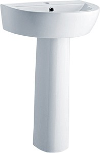 Crown Ceramics Solace 550mm Basin & Pedestal (1 Tap Hole).