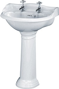 Crown Ceramics Ryther 600mm Basin & Pedestal (2 Tap Holes).