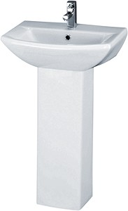 Crown Ceramics Asselby 500mm Basin & Pedestal (1 Tap Hole).