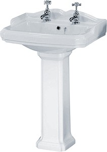 Crown Ceramics Legend 580mm Basin & Pedestal (2 Tap Holes).