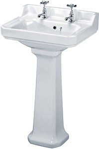 Crown Ceramics Carlton 560mm Basin & Pedestal (2 Tap Holes).