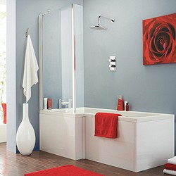 Crown Baths Square Shower Bath With Screen & Panels (Left Handed).