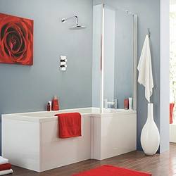 Crown Baths Square Shower Bath With Screen & Panels (Right Handed).