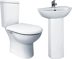 Crown Ceramics Knedlington 4 Piece Suite, Toilet, Seat & 500mm Basin.