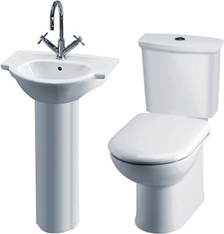 Crown Ceramics Linton 4 Piece Bathroom Suite With Toilet, Seat & 500mm Basin.