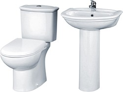 Crown Ceramics Barmby 4 Piece Bathroom Suite With Toilet, Seat & 600mm Basin.