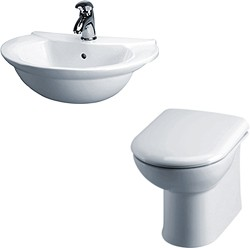 Crown Ceramics Otley Suite With Back To Wall Pan, Seat, Recessed Basin.