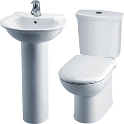 Crown Ceramics Otley 4 Piece Bathroom Suite With Toilet & 500mm Basin.