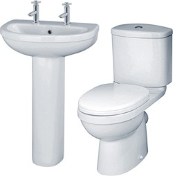 Crown Ceramics Ivo 4 Piece Bathroom Suite With 550mm Basin (2 Tap Holes).