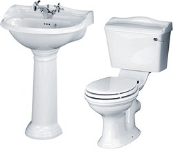 Crown Ceramics Ryther 4 Piece Bathroom Suite With 600mm Basin (1 Tap Hole).