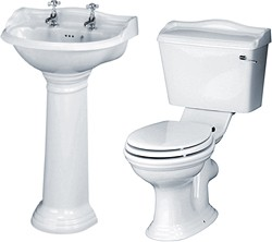 Crown Ceramics Ryther 4 Piece Bathroom Suite With 500mm Basin (2 Tap Holes).
