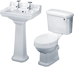 Crown Ceramics Carlton 4 Piece Bathroom Suite, 560mm Basin (2 Tap Holes).