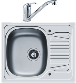 Pyramis Sparta Kitchen Sink, Waste & Tap. 620x500mm (Reversible).