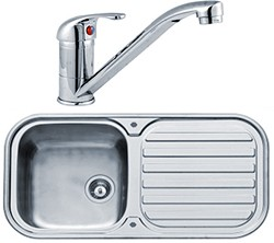 Pyramis Kitchen Sink, Tap & Waste. 960x480mm (Reversible, Deep Bowl).