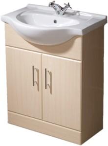 650mm Beech Vanity Unit, Ceramic Basin, Fully Assembled. Roma ...