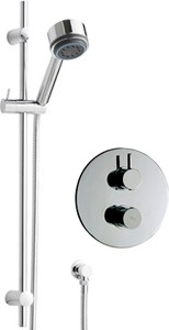 Hudson Reed Clio Twin Thermostatic Shower Valve, Slide Rail & Handset.