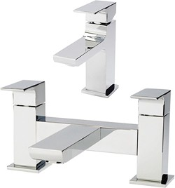 Hudson Reed Art Basin Mixer & Bath Filler Tap Set (Chrome).