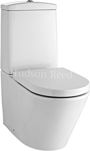 Hudson Reed Ceramics Curved Toilet With Dual Push Flush & Top Fix Seat.