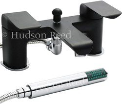 Hudson Reed Hero Bath Shower Mixer Tap + Shower Kit (Black & Chrome).