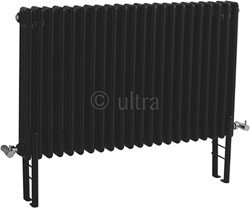 Ultra Colosseum Triple Column Radiator With Legs (Black). 1011x600mm.