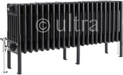 Ultra Colosseum 6 Column Radiator With Legs (Black). 1011x480x220mm.