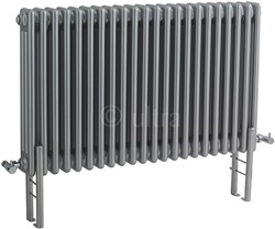 Ultra Colosseum Triple Column Radiator With Legs (Silver). 1011x600mm.