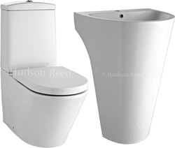 Hudson Reed Ceramics 3 Piece Bathroom Suite With Toilet, Seat & 610mm Basin.