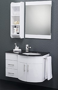 Hudson Reed Ellipse Wall Hung Bathroom Furniture Pack (Right Hand, Granite).