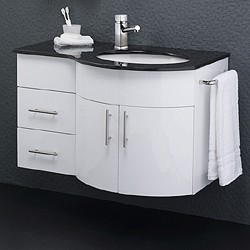 Hudson Reed Ellipse Wall Vanity Unit With Granite Top. Right Handed, 870x550mm.