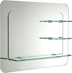 Trilogy Bathroom Mirror With Shelves 800x600mm Ultra Mirrors U