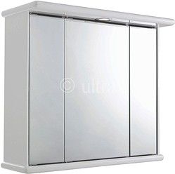 Ultra Cabinets Cryptic 3 Door Mirror Cabinet, Light & Shaver. 700x620x270mm.