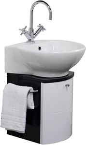 Hudson Reed Orb Wall Hung Vanity Set (Black & White). 300x600x373mm.