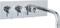 Ultra Quest Wall Mounted Thermostatic Triple Bath Filler Tap (Chrome).