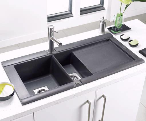 Geo 1 5 Bowl Black Composite Kitchen Sink Right Handed Astracast Sink A Geo15r Truerooms Com