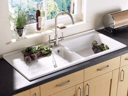Jersey 1.5 bowl sit-in ceramic kitchen sink with left hand drainer ...