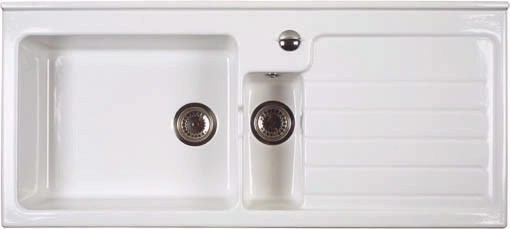 Jersey 1.5 bowl sit-in ceramic kitchen sink with right hand ...